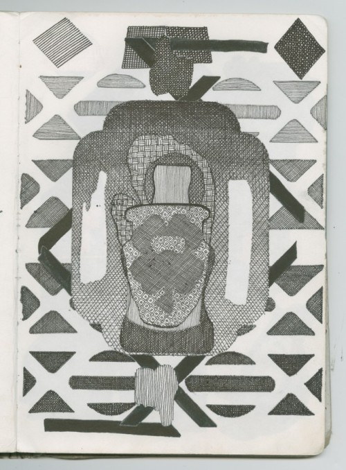 """GREGORY WILEY EDWARDS, Sketchbook Drawing, bac814, ink on paper, 12"""" high x 9"""" wide Courtesy of the artist"""