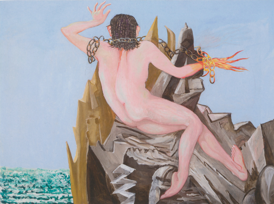 CHARLES GARABEDIAN, Prometheus Chained, 2014 acrylic on canvas 56 x 75 inches (142.2 x 190.5 com) © Charles Garabedian Courtesy of L.A. Louver, Venice CA.