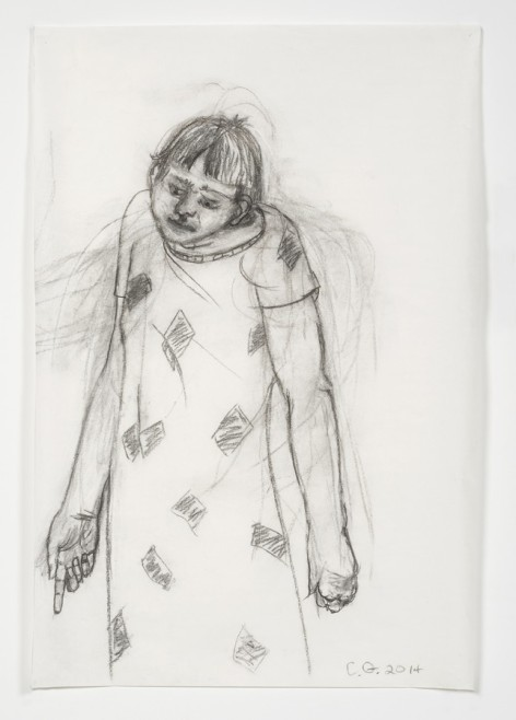 CHARLES GARABEDIAN, Study for Cassandra, 2014 charcoal on paper 48 x 32 in. (121.9 x 81.3 cm) © Charles Garabedian. Courtesy of L.A. Louver, Venice, CA.