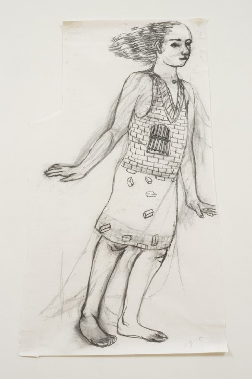 CHARLES GARABEDIAN, Supplicant I, 2013 charcoal on paper 48 x 29 1/4 in. (121.9 x 74.3 cm) © Charles Garabedian. Courtesy of L.A. Louver, Venice, CA.