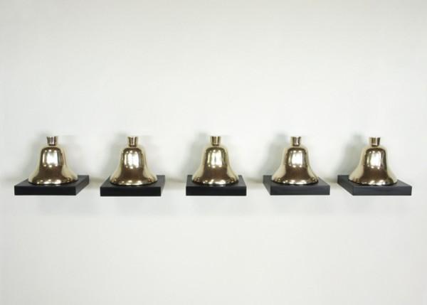 """JOHN EDEN, """"Hell's bells"""" 2006. Bronze bells on lacquered aluminum 7.5"""" x 54"""" x 8"""""""