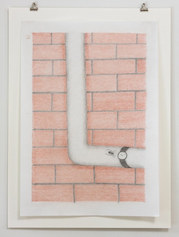 NICK AUSTIN, The Town Wristwatch, 2014, colored pencil on paper Courtesy of the artist and Laurel Doody