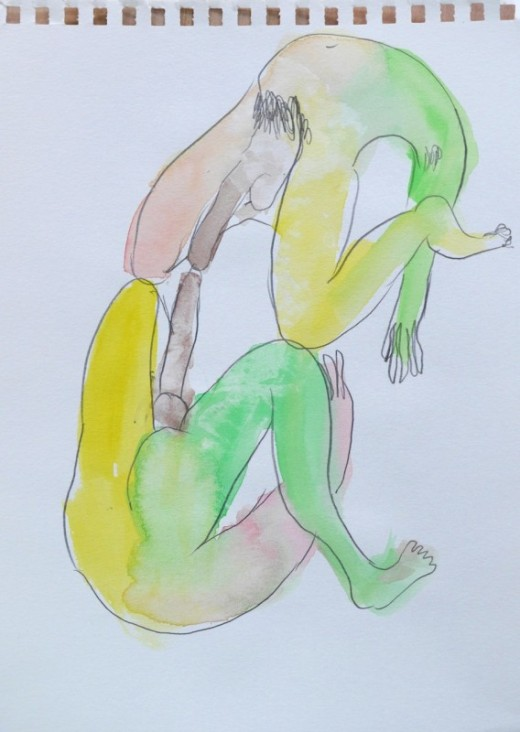 "NAOTAKA HIRO, Untitled, 2012-2015, graphite, pen, watercolor on paper, 6"" x 8.5"""