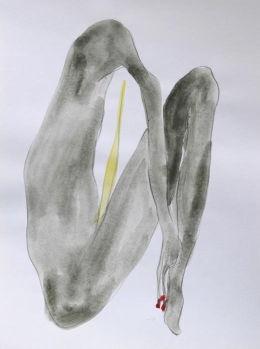 "NAOTAKA HIRO, Untitled, 2012-2015, graphite, pen, watercolor on paper, 9"" x 12"""