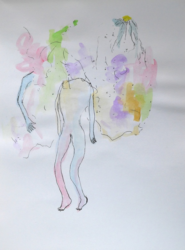"NAOTAKA HIRO, Untitled, 2012-2015, graphite, pen, watercolor on paper, 9"" x 12"""