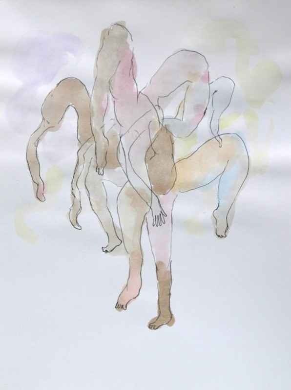 "NAOTAKA HIRO, Untitled, 2012-2015 Graphite, pen, watercolor on paper, 9"" x 12"""
