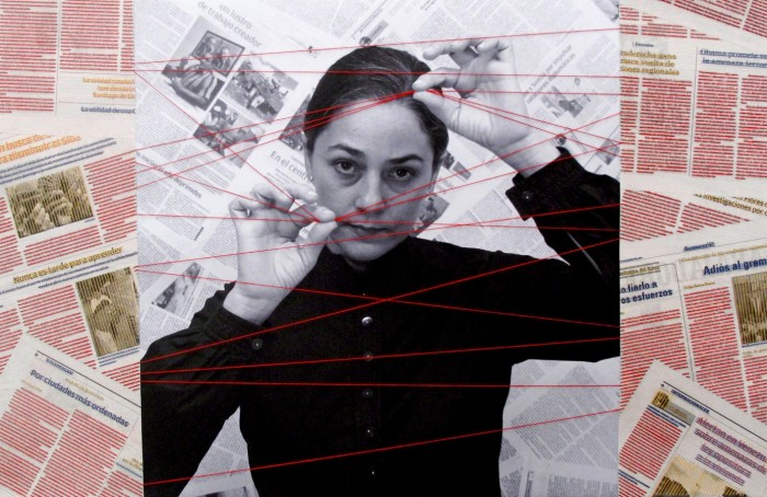 AIMEE GARCIA, Cuerdas, 2016, Inkjet print, newspaper, thread on canvas. Courtesy of the artist and Couturier Gallery