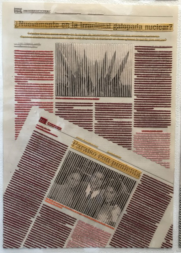 AIMEE GARCIA, Suprematist Speech, 2015, laminated collaged newspapers, threads Courtesy of the artist and Couturier Gallery