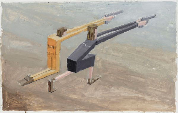 "MERNET LARSEN, Gunfighters 2001, Acrylic on Bristol board 15"" x 24"" Courtesy of the artist and James Cohan Gallery"