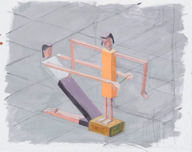 "MERNET LARSON, Getting Measured Study 1999, Acrylic on Bristol board 19"" x 24"" Courtesy of the artist and James Cohan Gallery"