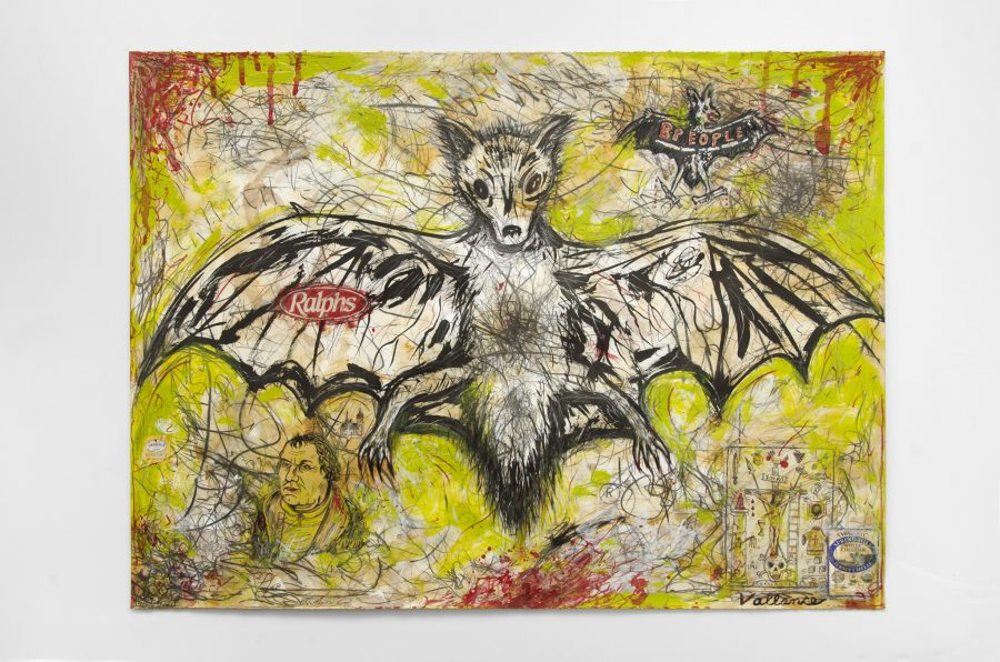 JEFFREY VALLANCE, Scared Fruit Bat (Pteripus tongamus) 2016 Mixed media on paper with commercial labels and printed paper collage 22 x 29 3/4 inches Courtesy of the artist and Edward Cella Gallery, Los Angeles