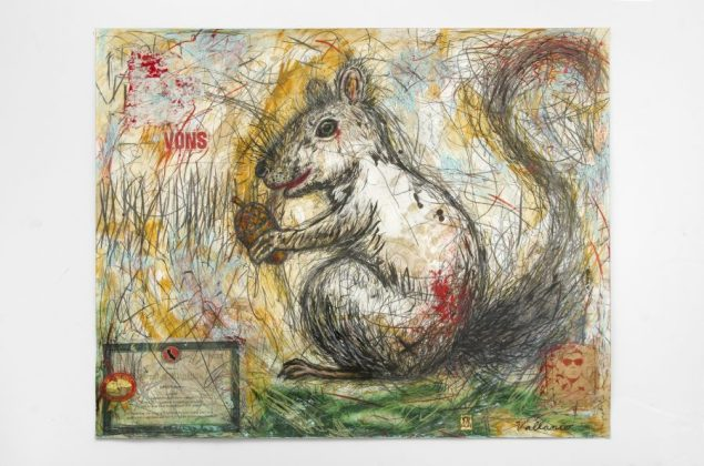 JEFFREY VALLANCE, Squirrely Squirrel (Sciurus griseus) 2016 Mixed media on paper with printed paper collage 23 x 29 inches Courtesy of the artist and Edward Cella Gallery, Los Angeles Photo: Gene Ogami