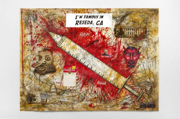 JEFFREY VALLANCE, D.C. Hypodermic 2016 Mix media on paper with sticker, and printed paper collage 22 x 29 3/4 in. Courtesy of the artist and Edward Cella Art & Architecture, Los Angeles. Photo: Gene Ogami