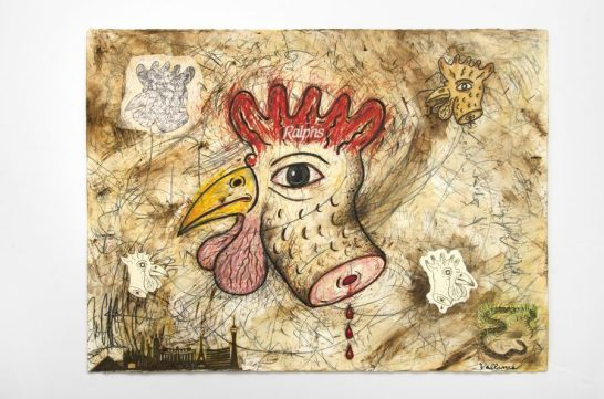 JEFFREY VALLANCE, Chicken (Gallus gallus domesticus) 2016 Mixed media on paper with printed paper collage, 221/4 x 30 inches. Courtesy of the artist and Edward Cella gallery, Los Angeles, Photo