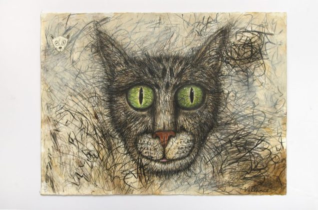 JEFFREY VALLANCE, Kittens in a Basket 2016 Mixed media on paper with printed paper collage, 22 1/4 x 30 in. Courtesy of the artist and Edward Cella Art & Architecture, Los Angeles. Photo: Gene Ogami