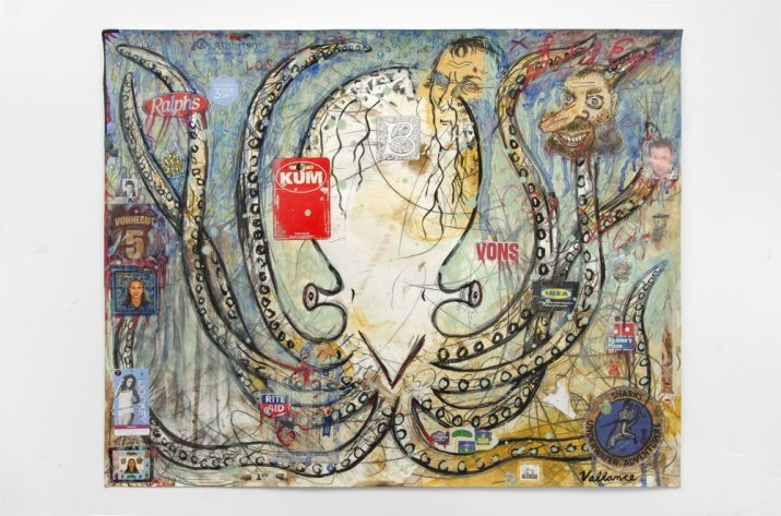 JEFFREY VALLANCE, The Octopus of Life 2016 Mixed media on paper with commercial labels, stickers, and printed paper collage 23 x 29 in. Courtesy of the artist and Edward Cella Gallery, Los Angeles Photo: Gene Aguri