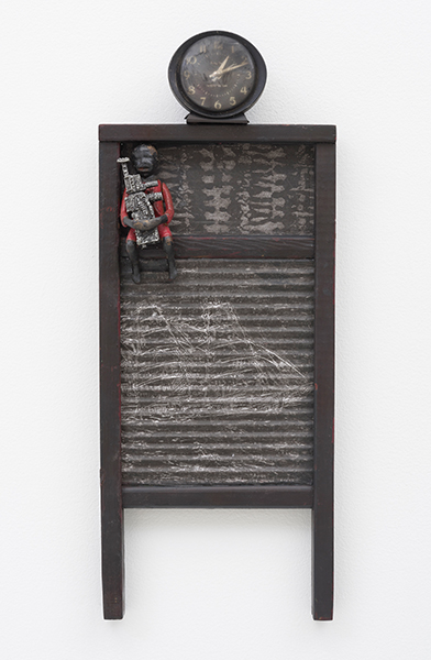 BETSYE SAAR, Dark Times 2015, Mixed media on vintage washboard 21.25 x 8.5 x 2.5""