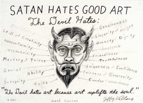 JEFFREY VALLANCE, Satan hotels good art 2001 Pencil and pen on paper 22 1/2 x 30 inches Courtesy of Beth Rudin De Woody and Edward Cella Gallery, Los Angeles