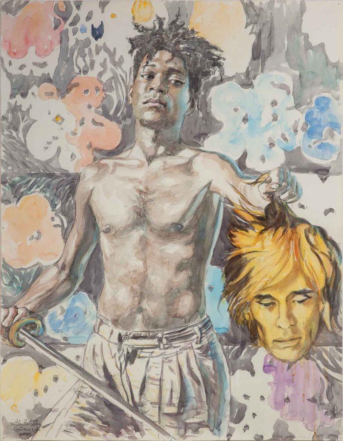ALI HASSOUN, Davide e Golia, 2015, watercolor on paper, 90 x 70 Courtesy of the artist and Studio Guastalla, Milano