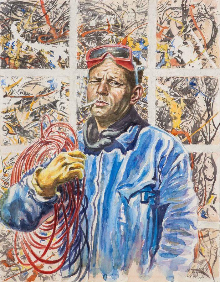 ALI HASSOUN, Electric Pollock, 2015, oil on canvas, 90 x 70cm Courtesy of the artist and Studio Guastalla, Milano