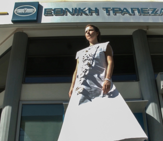 Jennifer nelson as a living Caryathid under the lintel of the National Bank of Greece